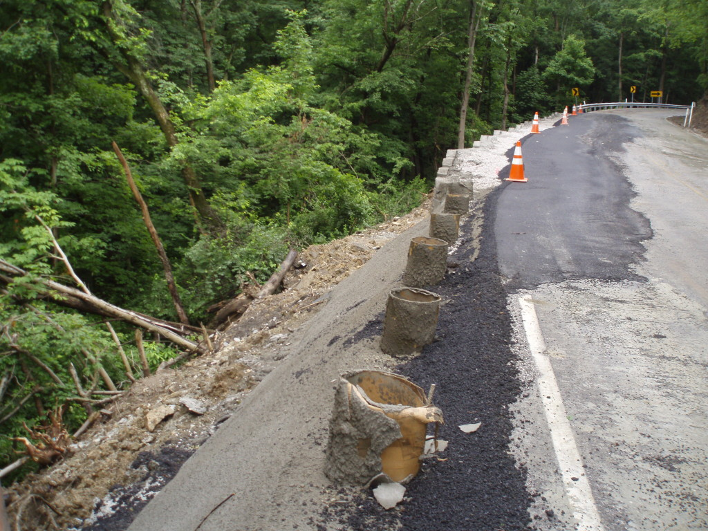 A rural road that needed repairs as a result of a landslide.
