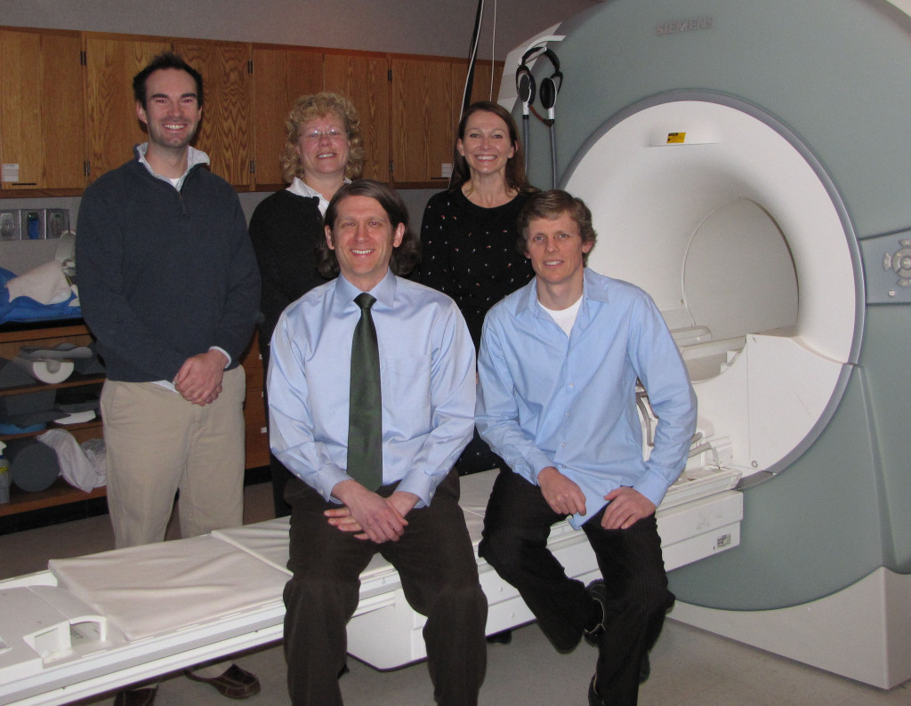 Doug Long, Jody Clasey, Alison Bailey, Dave Powell, and Nathan Johnson in the Magnetic Resonance Imaging and Spectroscopy Center.