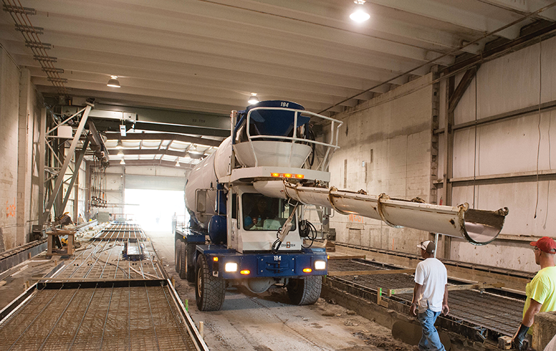 A precast production bay at Bristol Group, a Lexington-based construction, design and fabrication company that works in Kentucky and surrounding states. The manufacturing sector, especially automotive related companies, are creating increasing demand, Bristol officials say.