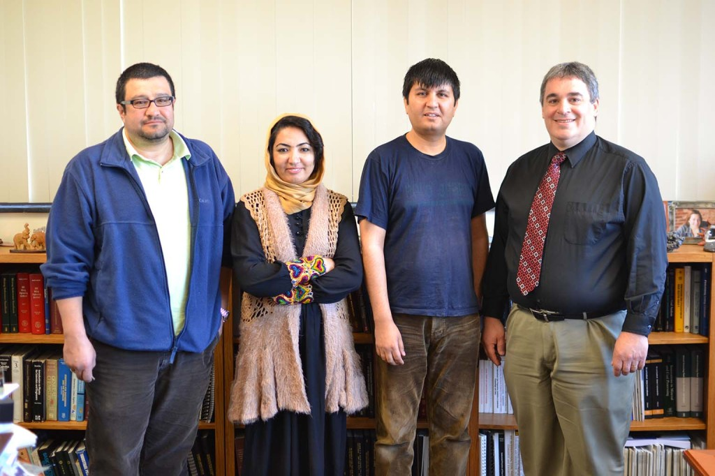 From left, Jhon Silva-Castro, assistant professor in UK's Department of Mining Engineering, BU faculty members Fahima Fararoon and Ahmad Farin Sabety, and Rick Honaker, chair of UK's Department of Mining Engineering.
