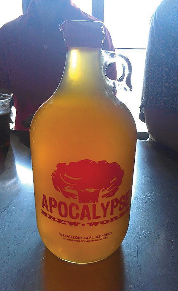 Apocalypse Brew Works sells growlers of local favorites like Fallout Dust.