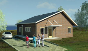 A rendering of the energy-efficient homes being built by Monticello-based houseboat manufacturer Stardust Cruisers.