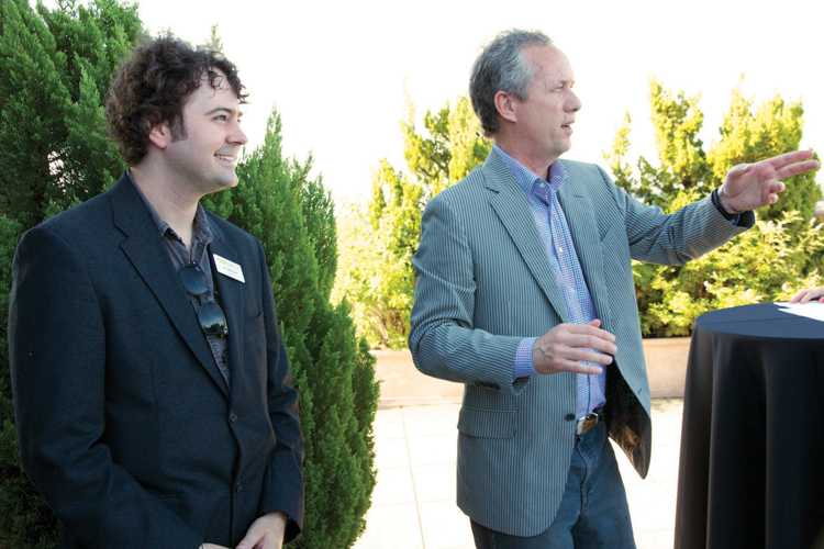 Forecastle Foundation Chairman and Founder JK McKnight and Louisville Mayor Greg Fischer address the crowd at the Forecastle Foundation's launch event in June 2012.