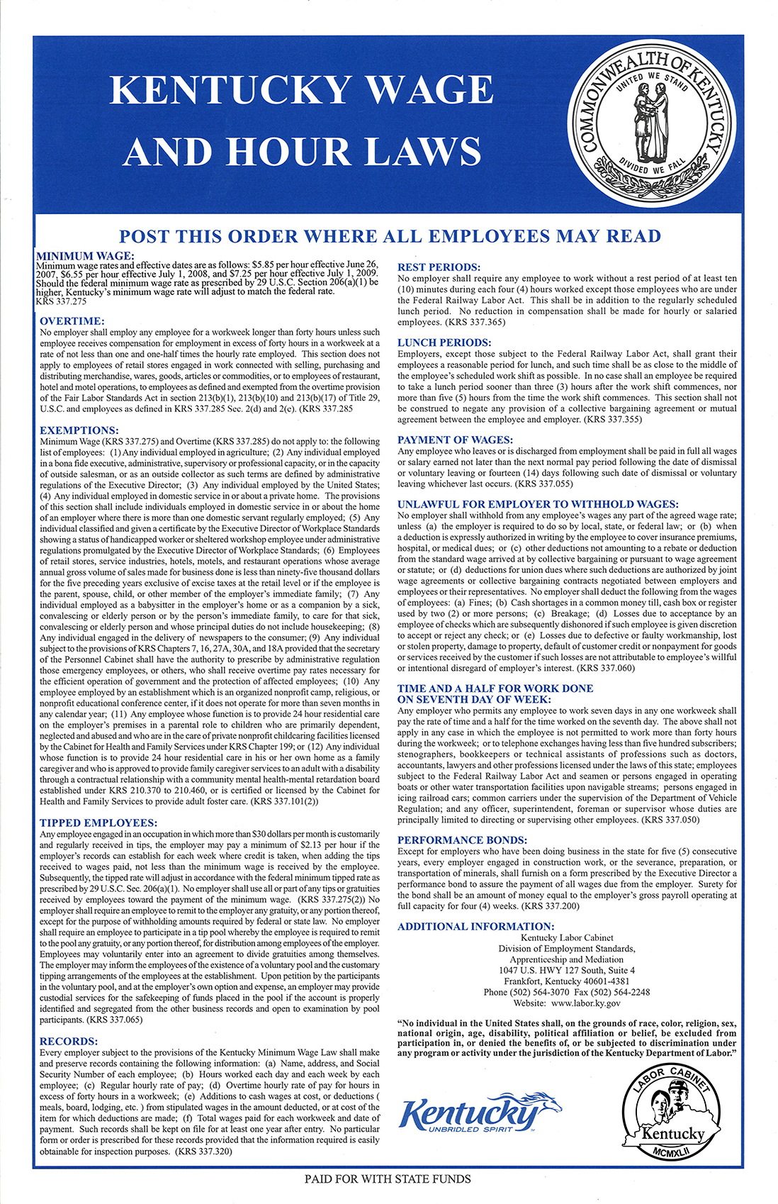 KY Wage And Hour Laws
