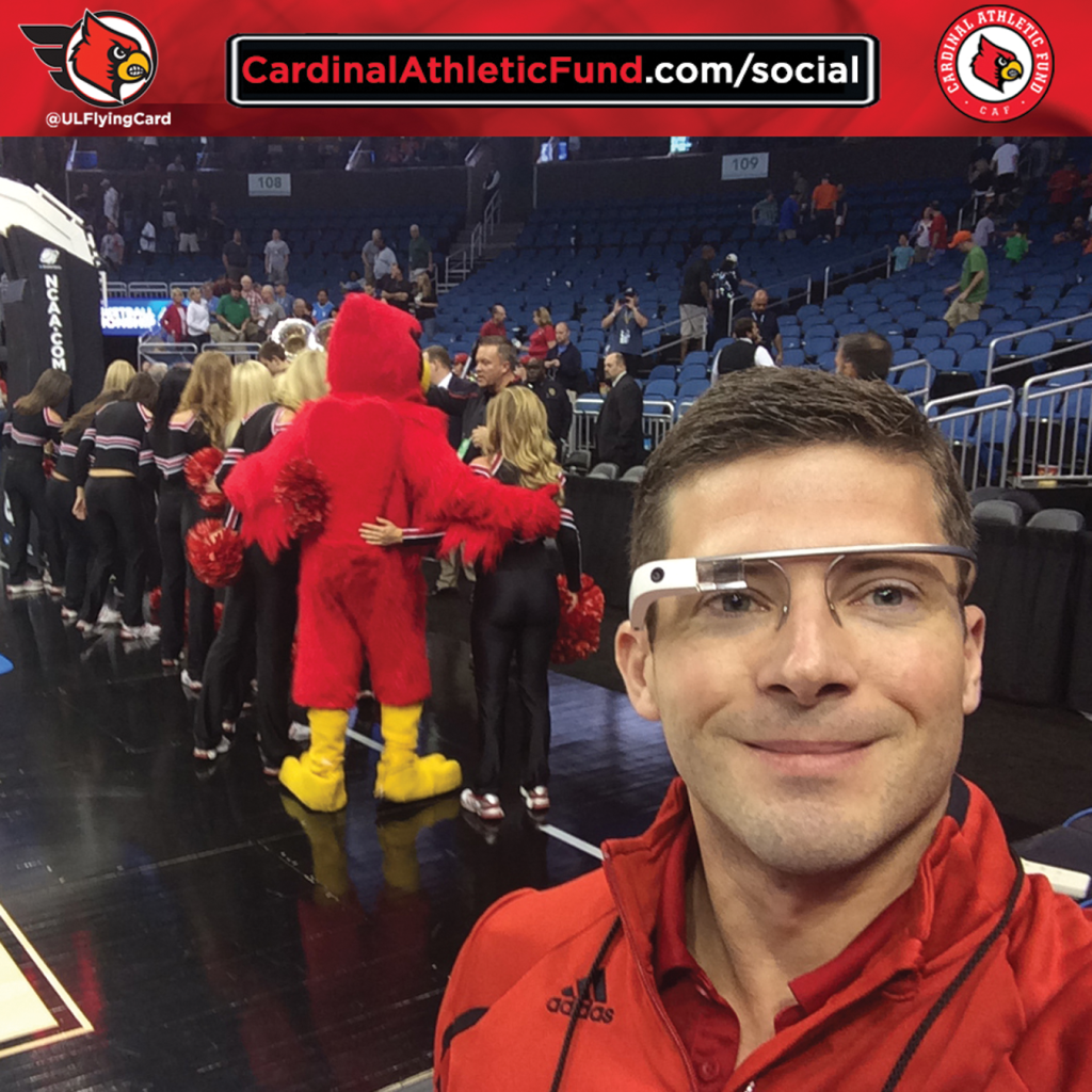 The University of Louisville was the first athletics program to integrate Google Glassesinto the overall fan experience. Nick Stover, director of social media engagement, helped pioneer this now nationally recognized effort.