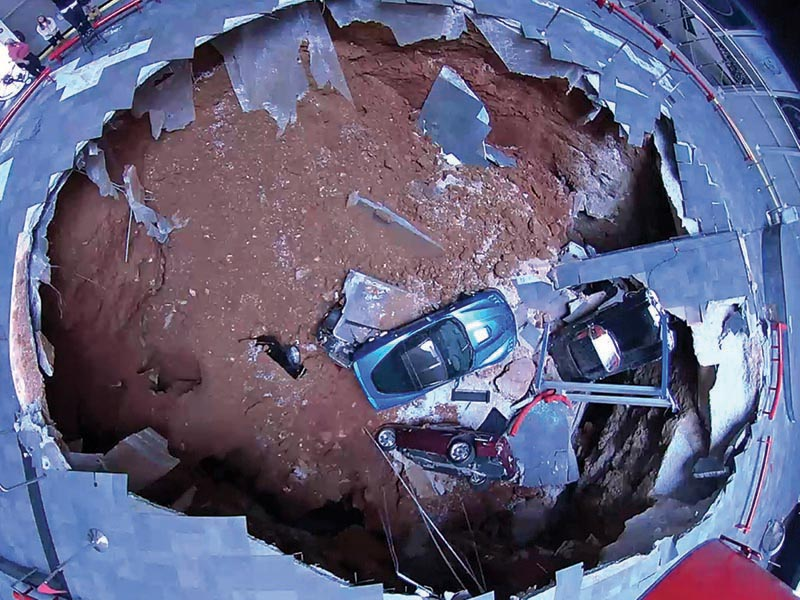 Eight Corvettes were damaged Feb. 12 when a large sinkhole collapsed inside the National Corvette Museum in Bowling Green. The museum has seen a surge in attendance by visitors who want to check out the damage, so much so that museum officials are considering preserving part of the sinkhole to permanently display as part of the facility's history.