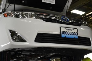 he 10 millionth vehicle assembled at Toyota Motor Manufacturing Kentucky (TMMK), a Camry Hybrid, rolls down the line in May 2014.