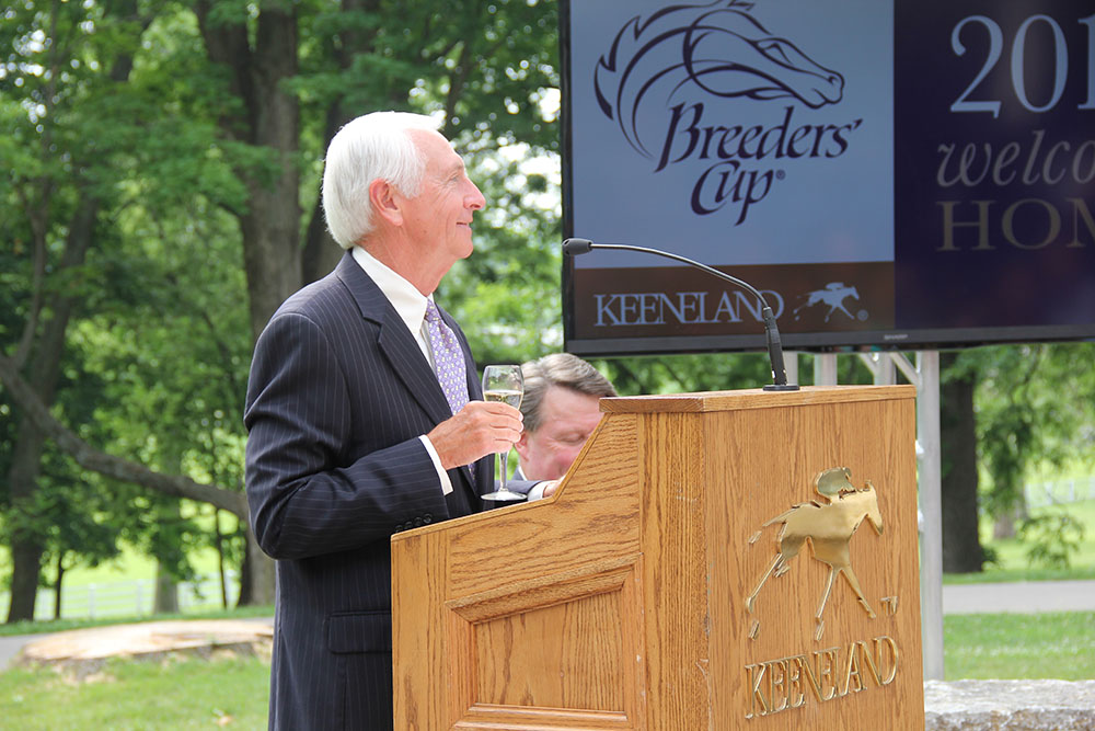 Gov. Steve Beshear makes a toast at the announcement that the Breeders' Cup in coming to Keeneland next year.