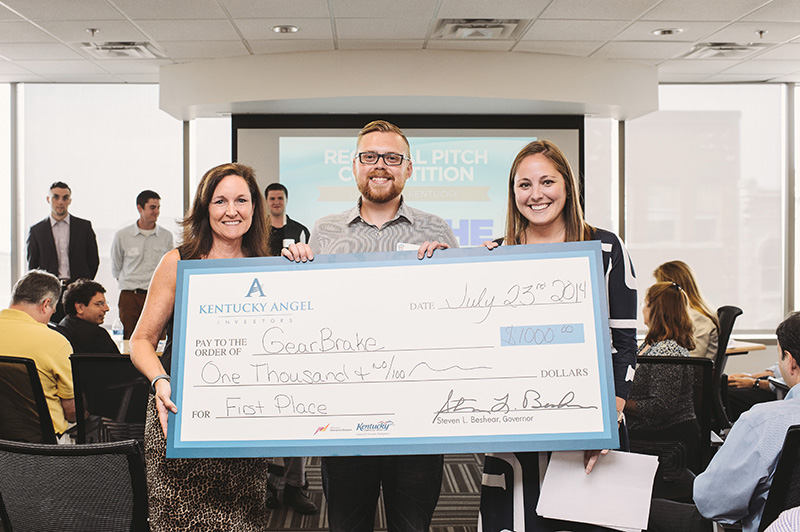 Chris Bailey received $1,000 after his product, GearBrake, won the Kentucky Cabinet for Economic Development's entrepreneur pitch competition in Louisville on Wednesday.