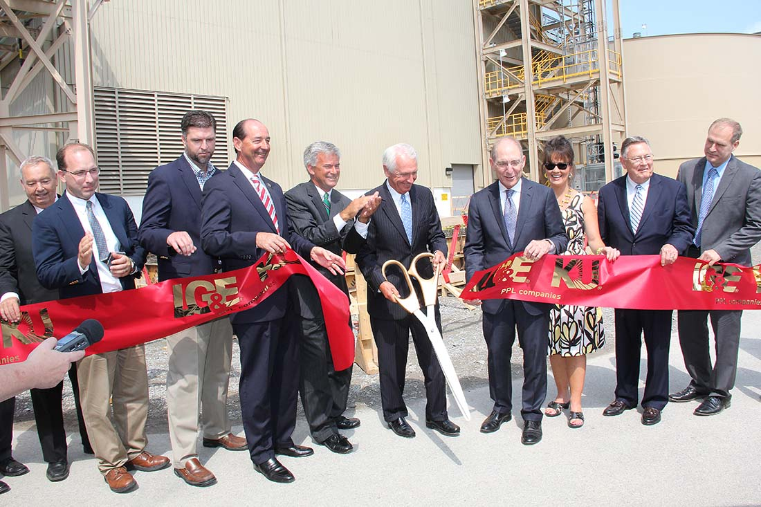 State, local and LG&E/KU officials cut the ribbon on Kentucky's first carbon capture pilot plant.