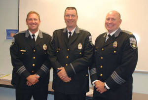 From left, incoming police chief Scott Schwartz, incoming assistant police chief Shawn Ward, retiring police chief Kevin Murphy. (CVG photo)