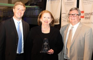 From left are Jared Arnett, President and CEO of the Southeast Kentucky Chamber of Commerce, Jean R. Hale, and John Blackburn, Chairman of the Southeast Kentucky Chamber of Commerce.