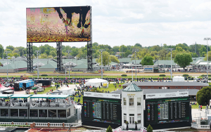 The new, 4K, ultra-high definition video board at Churchill Downs is bigger than three NBA basketball courts. It is 171 feet wide by 90 feet tall and sits 80 feet above the ground.
