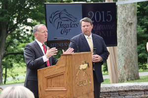 The Breeders' Cup, one of Thoroughbred racing's most prestigious events, has chosen Keeneland Race Course as the host site of the 2015 Breeders' Cup World Championships. Keeneland President and CEO Bill Thomason answers questions from the media about the Breeders' Cup while Tom Leach, right, listens.