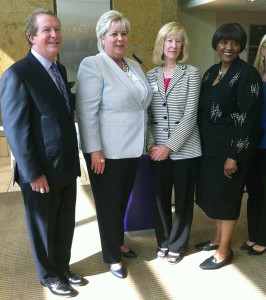 From left are John Smithisler, president of Saint Joseph Hospital and KentuckyOne Health Central and Eastern Kentucky Market Leader; Marion Nolan, associate director-strategic sales of Verizon Wireless; Barbara Reynolds, M.D., vice president of quality and medical affairs, KentuckyOne Health and Eastern Kentucky Market; and Ruth Brinkley, CEO of KentuckyOne Health.