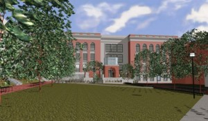 """A rendering of the """"reading garden"""" on south side of the Crabbe Library and a pedestrian mall."""