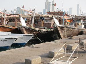 The facilities at Port Zayed, in Abu Dhabi, were visited by Commerce Lexington representatives this morning. These included state-of-the-art freight facilities for trans-ocean shipping, as well as these more traditional wooden dhows, which constitute most of the United Arab Emirates commercial fishing fleet. (Photo by Claude Hammond)