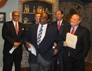 Bardstown Mayor Bill Sheckles, center, president of the Kentucky League of Cities, speaks during a news conference announcing Lexington will host the 2016 Southern Legislative Conference annual meeting July 16-20. Also pictured are, from left, state Sen. Reggie Thomas of Lexington, Lexington Mayor Jim Gray, state House Majority Floor Leader Rocky Adkins of Sandy Hook, and state Senate President Robert Stivers of Manchester, president of the Southern Leadership Conference.