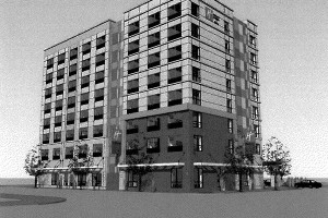 Rendering of proposed Holiday Inn Express.
