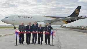 """Taking part in the original ribbon cutting ceremony are (left to right): LRAA Board Vice Chair Phil Lynch; Mayor Greg Fischer; LRAA Board Chair Jim Welch; Congressman John Yarmuth; and LRAA Executive Director C.T. """"Skip"""" Miller"""