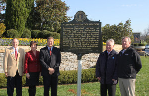 Left to right: Kent Whitworth, executive director, Kentucky Historical Society; Nancy Wiser, chair, Blue Grass Airport board; Erik Frankl, executive director, Blue Grass Airport; Boyd Browning, president, Fasig-Tipton
