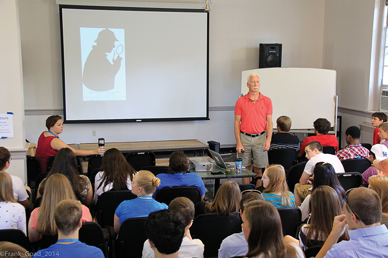Tom Welch, faculty member for the Governor's School for Entrepreneurship, addresses the 62-member class during the 2014 session, which took place during the summer on the campus of Georgetown College.