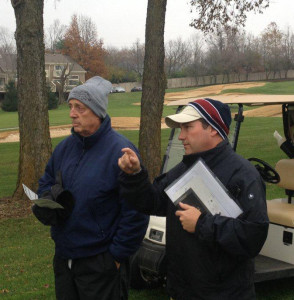 Renowned golf architect Rees Jones (left), along with architect Bryce Swanson of Rees Jones, Inc., survey the golf course at Griffin Gate Golf Club in Lexington, Kentucky, in advance of a $1 million bunker renovation that will take place at the property, which is located at the Griffin Gate Marriott Resort & Spa in Lexington. The project, which is scheduled for completion in mid-May, will be highlighted by the successful Better Billy Bunker Method, which is used on many premier courses nationwide.