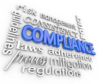 The word Compliance in blue 3d letters surrounded by related ter