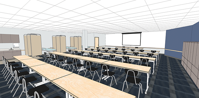 An architect's rendering of what a dedicated onsite Career Choice classroom at the Campbellsville fulfillment center will look like, including medical exam tables and equipment. The classroom is part of Amazon's plans to invest more than $25 million throughout Kentucky in the next two years.