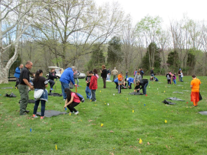 Students from Huntertown Elementary School in Woodford County help plant 200 seedlings during an Arbor Day event at General Butler State Park in Carrollton.