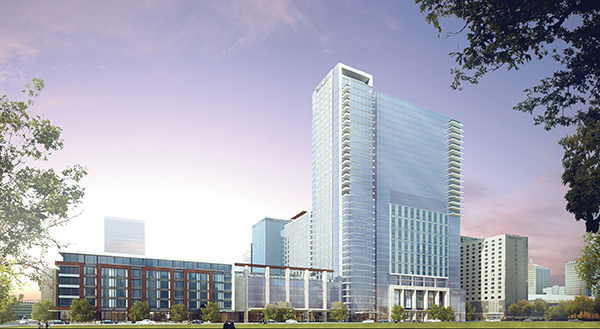 The $289 million Omni Hotel multiuse project will include 600 suites, 225 apartments, 70,000 s.f. of meeting space and 3,000 s.f of shops along with two restaurants, a café and bar, fitness center and more.