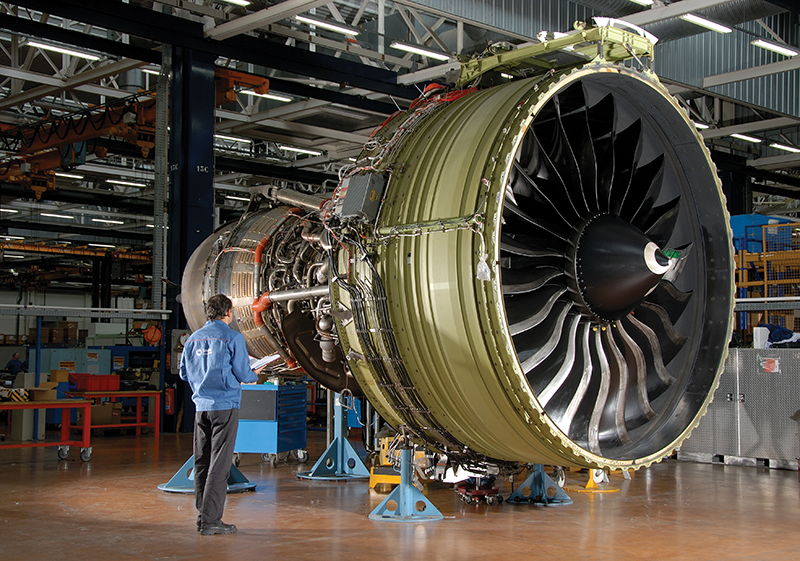 The GE-90 turbofan engine is used by the Boeing 777. GE Aviation and Boeing now have the largest order backlogs in the history of both companies, which is creating major growth in aerospace parts exports from Kentucky companies that are suppliers. Kentucky exported $7.8 billion in aerospace parts and products in 2014.