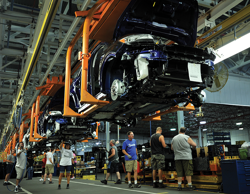 Workers at Ford's Louisville Assembly Plant assemble the Escape. With more than 1.2 million vehicles produced in 2013, Kentucky ranks third overall in light vehicle production and first per capita.