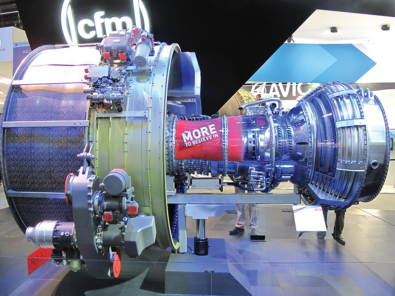 A CFM Leap turbofan engine on display at the 2013 Paris Air Show. Back orders for the LEAP engine are expected to keep suppliers operating near top capacity for at least the next decade.