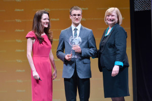 Dr. Aoife Lyons (left), director of educational initiatives at Alltech, and Dr. Inge Russell (right), director of the Alltech Young Scientist program, present Rafal Bialek with his award as the undergraduate winner of the 10th annual Alltech Young Scientist program. Bialek is a student at Adam Mickiewicz University in Poznań, Poland.