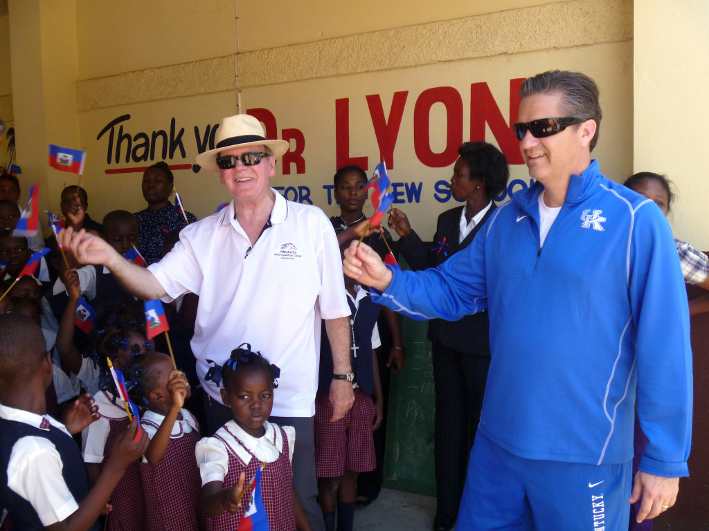 Dr. Pearse Lyons, president of Alltech, was joined in 2011 by John Calipari, University of Kentucky's men's basketball coach, on a visit to the two primary schools Alltech supports in Haiti. On Wednesday, May 20, Alltech will present Coach John Calipari with the 2015 Humanitarian Award. One of college basketball's most successful coaches, Calipari will be sharing his insights on team building and leadership with the international attendees at the closing session of the Alltech REBELation conference in Lexington.