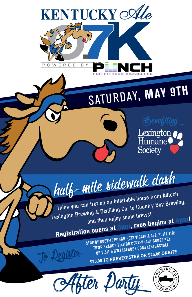 Alltech Lexington Brewing & Distilling Co. has a slew of events planned for Lexington Craft Beer Week, including the annual 9th Annual Kentucky Ale Pro-Am Brew-Off homebrewing competition that will take place on Saturday, May 9, that will also include the lighthearted Kentucky Ale 0.7K – a short half-mile dash between the company's brewery and Country Boy Brewing on Chair Ave. to benefit the Lexington Humane Society.