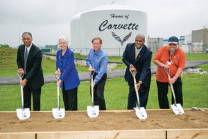 GM and state officials gathered on May 21 to break ground on a $439 million expansion of the Corvette Assembly Plant. Pictured here from left to right are: General Motors North America Manufacturing Manager Arvin Jones, Kentucky Lt. Gov. Crit Luallen, Bowling Green Assembly Plant Manager Jeff Lamarche, UAW Regional Director Ray Curry and UAW Local 2164 Shop Chairman-Elect Jeff Wydner.