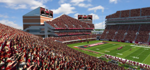 A rendering of the stadium with an enclosed north end zone.