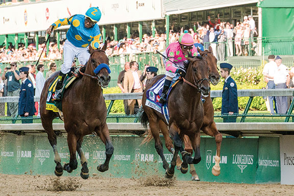 Kentucky-bred American Pharoah, left, took the 141st Kentucky Derby on May 2 over Firing Line by one length and Dortmund by three lengths, then won the 140th Preakness Stakes May 16 and the 147th Belmont Stakes June 6. Thoroughbred racing's first Triple Crown winner since 1978 is attracting new attention to the industry just as Kentucky breeders have regained stability in supply and demand for their annual foal crop. American Pharoah will retire to Coolmore's Ashford Stud in Woodford County.