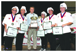 """""""Culinary Cats:"""" from left, Ally Hayes, Gracie Inabnitt, Mary Grace Bamburger, Christina Montgomery, and Abby Coyle. (Kentucky Department of Agriculture photo)"""