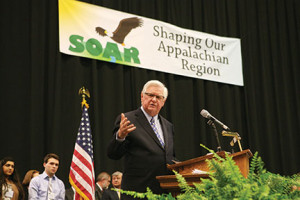 U.S. Rep. Hal Rogers addresses a Shaping Our Appalachian Region conference audience. He is co-chair along with Gov. Steve Beshear of an ongoing and growing initiative to diversity the economy of and create jobs in Eastern Kentucky.