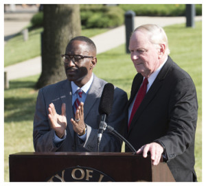 UofL President James Ramsey and Simmons College Kevin Cosby.