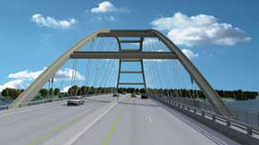 The new Lake Barkley bridge, which will feature a basket-handle arch design, will have four travel lanes and a 10-foot pedestrian-bicycle path.
