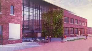 A rendering of the future Louisville Stoneware building by wHY Architecture