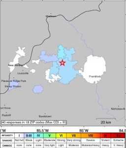 A map of the Shelbyville earthquake from the USGS