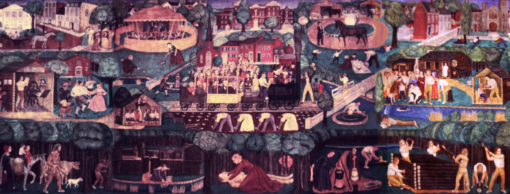 A portion of the Memorial Hall mural. The fresco was painted in the 1930s by artist Ann Rice O'Hanlon.