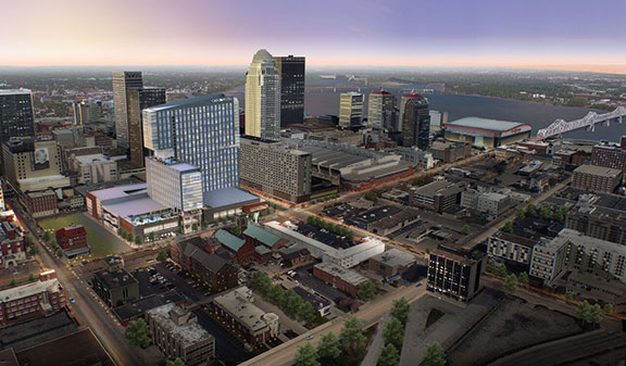 Considered the tallest hotel in Louisville and located at Liberty and 2nd Street, Omni Louisville will have a significant impact on the city's skyline.