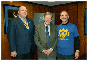 From left, MSU Athletic Director Brian Hutchinson, Dr. Thomas Fossett  and MSU President Wayne D. Andrews.
