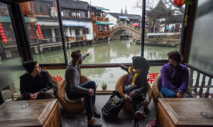 Centre College students explore the ancient water town of Zhujiajiao, located on the outskirts of Shanghai during a short weekend trip on December 13, 2015.